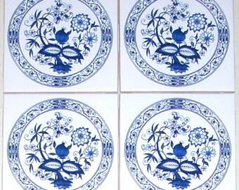 "Blue Onion Ceramic Tile Set of 4 of 4.25"" x 4.25"" White Ceramic Tile Kiln Fired with Vintage Blue Onion."
