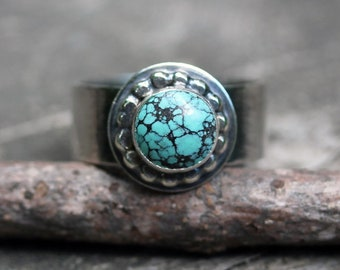 Turquoise ring / sterling silver ring / gift for her / jewelry sale / boho ring / size 8 ring / statement ring / wide silver band