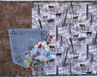 MarveLes DIGITAL PATTERN Denim Jean Pocket PLACEMAT Home Decor Dining Table Placesetting Western Contemporary Floral Collage