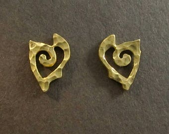 Gold Heart studs, Heart Spiral, 18k posts, solid 18k earrings, recycled made in USA