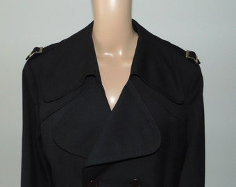 Vintage 70s Black trench coat Vintage raincoat Gentleman coat Mens coat Detachable lining Classic trench coat Classic raincoat