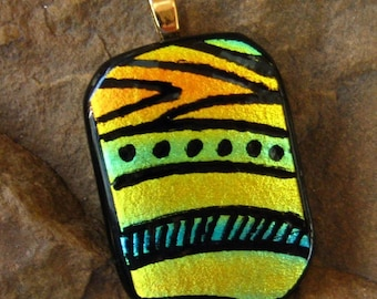 Dichroic Glass Pendant, Dichroic Picasso Pendant, Dichroic Fused Glass Zentangle Pendant, Fused Glass - Southwest