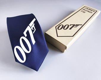 James Bond Tie - Silk Tie - Spectre Tie - Slim Tie - Wedding, Christmas Gift, Fathers Day Gift, Birthday Gift, Tuxedo - Valentine's Day Gift