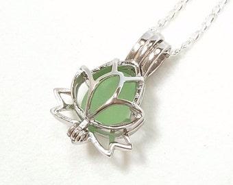 Lotus Necklace, GENUINE Sea Glass Jewelry, Zen Necklace, Yoga Jewelry, Sterling Silver Flower Necklace, Lotus Locket Necklace, Seaglass