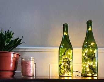 Green Burgundy Wine Bottle Light