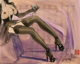 BURLESQUE CORSET MARTINI and Stockings Original Painting Nude Deco Nylons Garters Pin-up Modern Art MidCentury pinup Vanguard collection