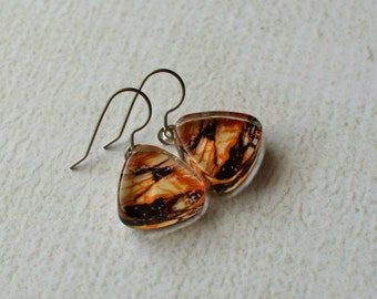 Marbled Dangle Earrings- Glass Titanium Earrings- Made from Upcycled Paper- Hypoallergenic OOAK Titanium Dangle Earrings- Rust and Black