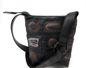On sale Recycled Rubber bag, recycled bike inner tube with patches, black vegan. Bicycle tube. Rubber bag. Gummi taske cykelslange.