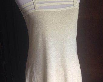 SUMMER SALE now 15.99 Cyber Funky Punk Club wear Ivory Ribbed Stretch Fabric and Vinyl Mini Dress Vintage 1990's NWOT Retail Storage sz S
