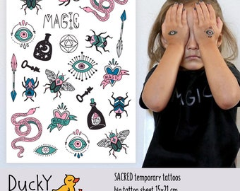 """Temporary tattoos """"Sacred"""" with magic symbols and totems: snake, arrow, eye, moon, stars, beetle tattoos. Bohemian party favors and gifts"""