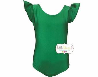 Kelly Green Leotard-Shiny (Child) FLUTTER/RUFFLE Sleeve Leotard