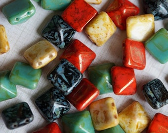 12mm Two Hole Pyramid Beads - Czech Glass Beads - Two Hole Squares - Large Pyramid Beads - Carnival Mix - Bead Mix - BeadSoup
