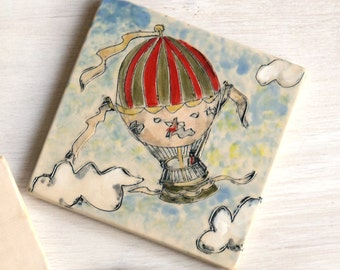Colorful Hand Painted Ceramic Clay Trivets, Ceramic Art, Ceramic Handmade Tiles, Hot Air Balloon, Garlic Pod, Bluebird