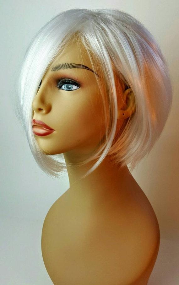 Short A Line Platinum Blonde Wig Stacked A Line Bob Short