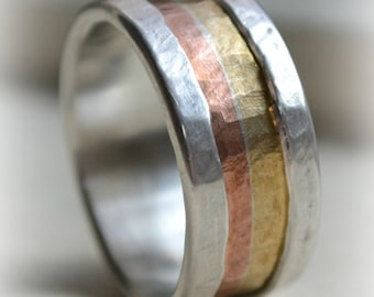 mens wide band ring - Marriage of Metal fine silver with copper and brass - handmade wedding band - silver lining - custom hand stamping