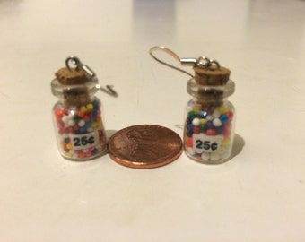 Miniature Gumball Candy Jar Earrings