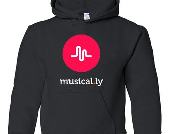 Musical.ly Graphic Black hoodie sweatshirt youth size S M L XL T-125H
