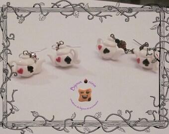 Alice in polymer clay teapot earrings
