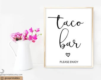 Printable Taco Bar Sign PDF: Fiesta Wedding Printable, Fiesta Party Sign, Fiesta Decoration Bridal Shower Fiesta Decor Wedding Reception 081