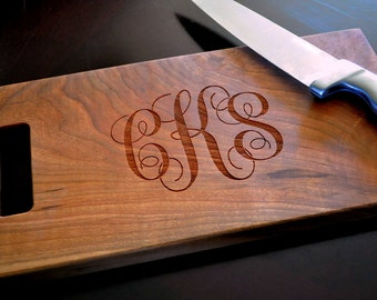 Cutting Board Personalized Cutting Board Laser Engraved Cherry 8x14 Monogram Cutting Board CB814SCM