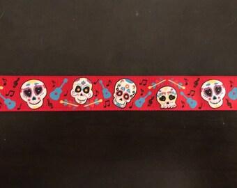 "1"" Calavera Day of the Dead Sugar Skull Collar - Red"