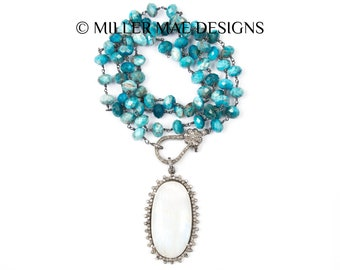 Diamond Pendant Necklace | Diamond Clasp Necklace | Blue Apatite Necklace | Diamond Turquoise Necklace | Double Wrap Necklace