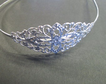 Silver filigree headbands with a 75x35mm pad, lead and nickel free