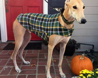 Greyhound Dog Coat, XL Dog Jacket, Green, Black, White, and Gold Flannel Plaid with Gold Fleece Lining