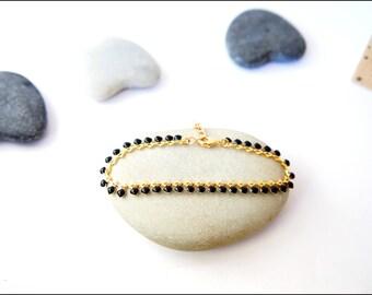 Black enamel hearts fancy chain bracelet