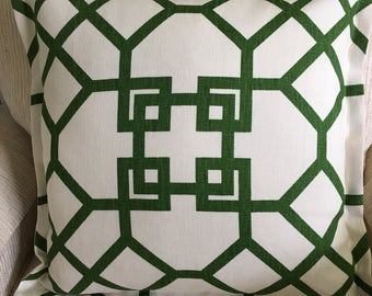 Green Geometric linen Pillow Cover, flanged