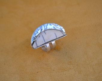 Ivory Half-Moon Cabochon Ring