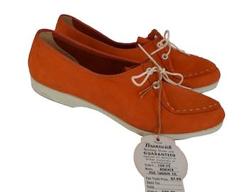 1960s Womens Bowling Shoes, 60s Orange Oxford Shoes, Brunswick, NWT, Hipster Shoes, Rockabilly Shoes, Punk Shoes, Orange Shoes, 5 1/2, 5.5