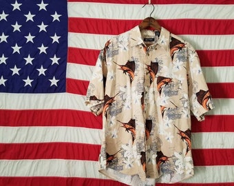 Vintage Hawaiian shirt - Sailfish Fishing - size Large - Tan Orange - Button Down - Summer BBQ Beach Party Luao