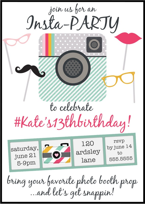 Instagram Inspired Birthday Party Invitation Digital File