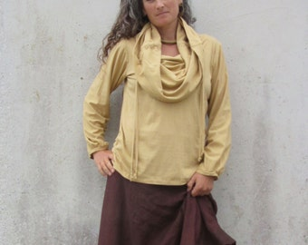 Womens shirt ~ Tribal fusion ~ Boho clothing ~ Beige shirt ~ Hippie clothing ~ Snood top ~ Hoody ~ Cowl neck top