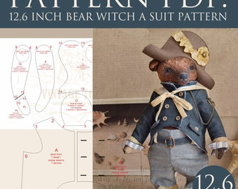 PDF teddy bear Captain, 12,6 inches with a clothes pattern
