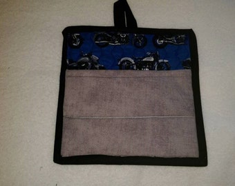 9 X 8 Motorcycles with Grey Pocket, Pot Holder, Hot Pad, Oven Mitt, Insulated, Quilted, Kitchen, Men, Guy