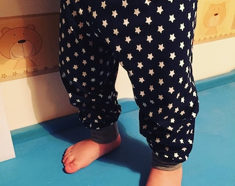 Navy Star Cuffed Trousers, Made To Order 0-3y