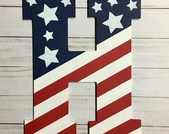 Door Hanger - Summer Door Decor -  American Door Hanger - Monogram Door Hanger - Patriotic Decoration - American Flag Decor