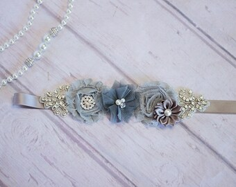 Bridesmaid Sash,  Bridal Sash / Belt,  Gray Sash, Rustic Maternity Sash / Belt, Gray Sash, Gray Bridal Belt, Bridesmaid Belt