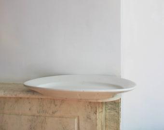 Antique Extra Large Ironstone White Platter, Dish, Plate, Porcelain, Greenwood China, Trenton NJ