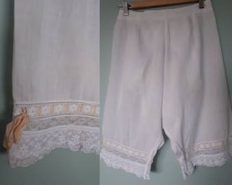 Edwardian lacy bloomers drawers trapdoor button back Antique 1900s White cotton UK 8 10 US 4 6 vintage lingerie matching shift available