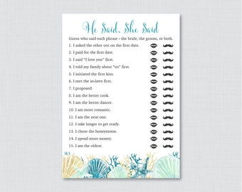 Nautical Bridal Shower He Said She Said Game - Printable Beach Themed Bridal Shower Game Guess Who Said It - Bridal Shower Phrases - 0012-B