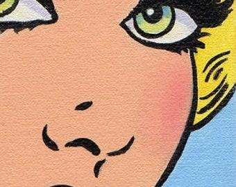 ACEO Original  Miniature  Painting Pop Art Comic Girl Blonde Woman Artist Trading Card
