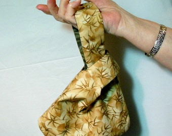 Japanese knot bag, handmade wristlet, bamboo handbag, self closing bag, small pouch bag, tan and green bag