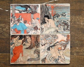 Pastel Creatures Tile Coasters - Set of 4 // Pastel // Colorful // European // Storybook // Illustration