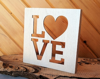 LOVE Wood Canvas, Wall Art, Wood Home Decor, Wall Gallery Collage, Gift for Her, Wedding Gift, Bridal Shower Gift, Baby Shower Gift, Heart