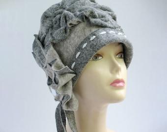 Wool hat Unique Gray felt cap wearable art OOAK handmade derby hat for women Special occasion Tea Party Hat Church Hat Garden Hat Fiber Arts