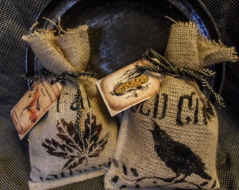 Fall Scented Corn Cobb Sacks ~ Crow