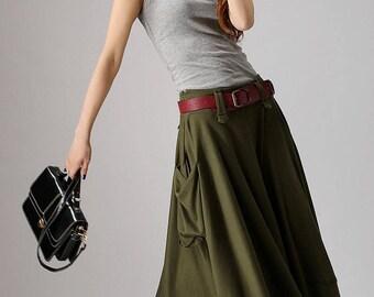 skirt with pockets, maxi skirt, army green skirt, summer skirt, lagenlook clothing, womens skirts, fitted skirt, patchwork skirt, gift  885